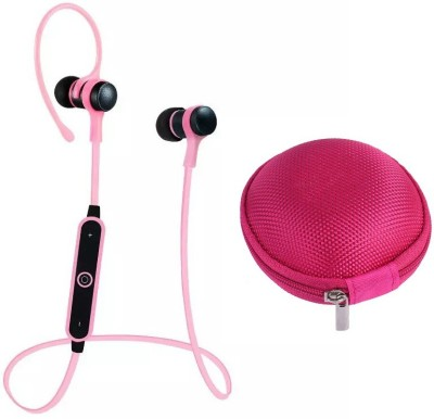 iZED Base full Curved Headphones supports all devices, ultra clear voice, high bass, trebble with 8 m of range. Bluetooth Headset with Mic(Pink, In the Ear) 1