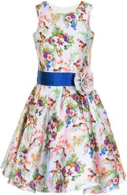 Naughty Ninos Girls Midi/Knee Length Party Dress(Multicolor, Sleeveless)