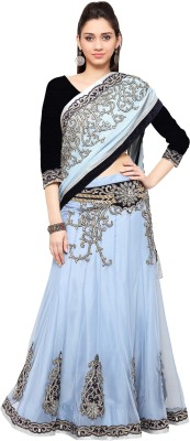 Mahotsav Embroidered Fashion Cotton Blend Saree(Blue) at flipkart