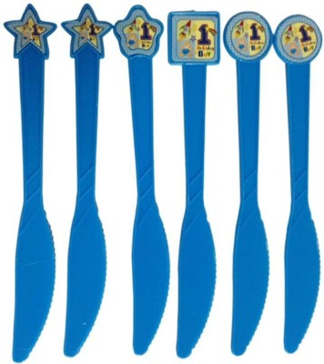 Funcart Fun at 1 Boy theme knives (6 pcs/pack) Disposable Plastic Serving Spoon Set(Pack of 6)  available at flipkart for Rs.149