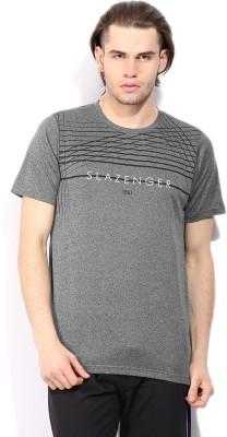 Slazenger Self Design Men's Round Neck Grey T-Shirt