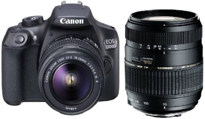 View Canon 1300D DSLR Camera With Tamron AF 70 - 300 mm F/4-5.6 Di LD Macro for Canon Digital SLR Lens(Black) Price Online(Canon)