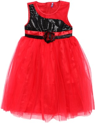 Yk Girls Midi/Knee Length Party Dress(Multicolor, Sleeveless) at flipkart