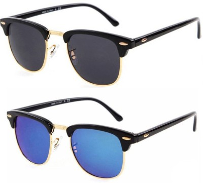 Poloport Wayfarer Sunglasses(Black, Blue)
