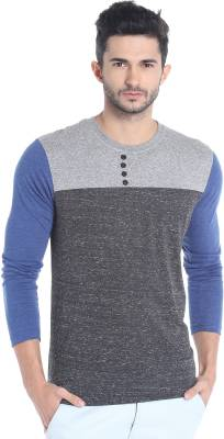 Campus Sutra Solid Men Round Neck Grey, Blue T-Shirt
