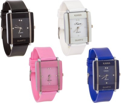 SPINOZA glory black white blue and pink square women Analog Watch   For Girls SPINOZA Wrist Watches