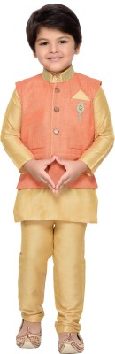 AJ Dezines Boys Festive & Party Kurta, Waistcoat and Pyjama Set(Orange Pack of 1) at flipkart