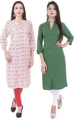 Fab Attire Casual Solid, Printed Women Kurti(Pack of 2, Green, White)