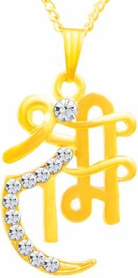 Yellow Chimes Platinum Plated Designer Blue Crystal Rhodium Swarovski Crystal Alloy Pendant