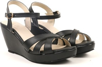 Carlton London Women BLACK Wedges at flipkart