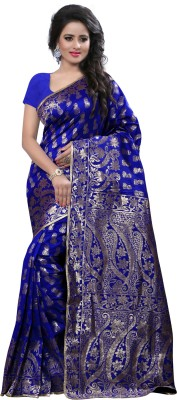 The Fashion Outlets Self Design, Solid Coimbatore Silk Cotton Blend, Jacquard Saree(Blue)