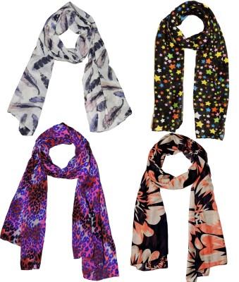 Weavers Villa Printed Polycotton Combo of 4 Scarves, Stoles, Dupattas Soft Summer Women Scarf