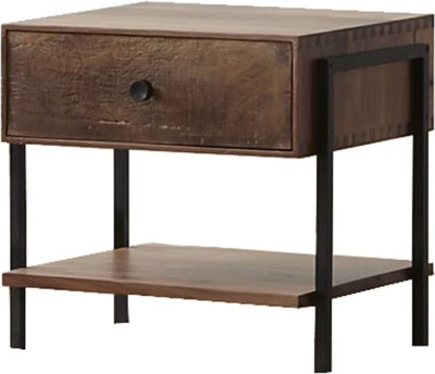 WOOD CREATION Solid Wood Bedside Table(Finish Color - Walnut)