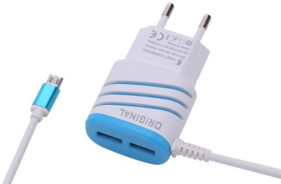 Edfigo Universal Dual USB 2.5Amp Fast Travel Charger For All Android Mobile Charger(Blue, Cable Included)