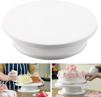Jamboree Cake Making Turntable Rotating Decorating Platform Stand Display Plastic Cake Server(White, Pack of 1) at flipkart