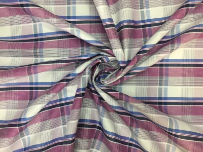 snt fashions Cotton Checkered Shirt Fabric(Un-stitched)
