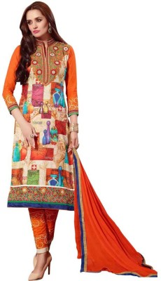 Saara Cotton Floral Print, Embroidered Salwar Suit Dupatta Material(Un-stitched)