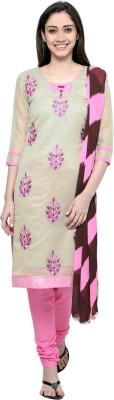 Saara Chanderi Floral Print, Embroidered Salwar Suit Dupatta Material(Un-stitched)