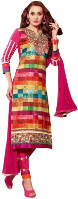 Saara Cotton Floral Print, Embroidered Salwar Suit Dupatta Material(Un-stitched)