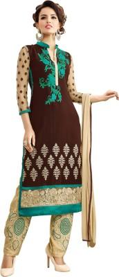Saara Georgette Floral Print, Embroidered Semi-stitched Salwar Suit Dupatta Material