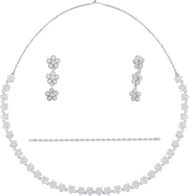 Shaze Brass Jewel Set(Silver) at flipkart