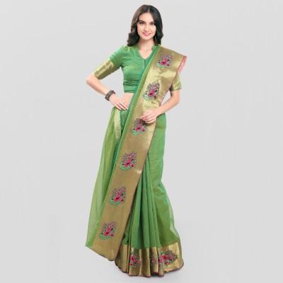 sarngin boutique Embroidered Kanjivaram Poly Silk Saree(Green)