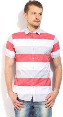 John Players Men's Striped Casual White Shirt