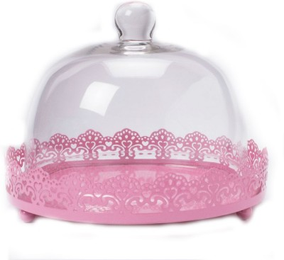 Shrih Cake Stand Filigree With Glass Dome Stainless Steel Cake Server(Clear, Pink, Pack of 1)  available at flipkart for Rs.5399