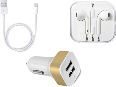 Zebron Headphone Accessory Combo for Apple iPhone 6/6S/6 Plus White Zebron Mobiles Accessories Combos