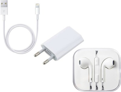 Zebron Wall Charger Accessory Combo for Apple iPhone 6/6S/6 Plus White Zebron Mobiles Accessories Combos