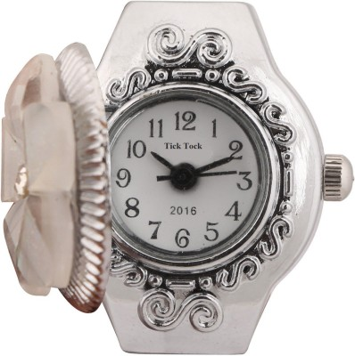 Tick Tock White Flower Design Ring Watch Metal Silver Plated Ring
