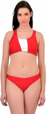 N-Gal Red One-Shouldered Bandeau Bikini Solid Women Swimsuit at flipkart