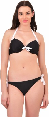 N-Gal Push up halter Bikini Set Solid Women Swimsuit at flipkart
