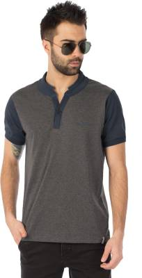Rodid Solid Men's Henley Grey, Dark Blue T-Shirt