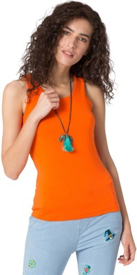 Chumbak Casual Sleeveless Solid Women's Orange Top