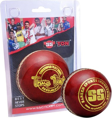 SS True Test Cricket Leather Ball Pack of 2, Red SS Cricket Balls