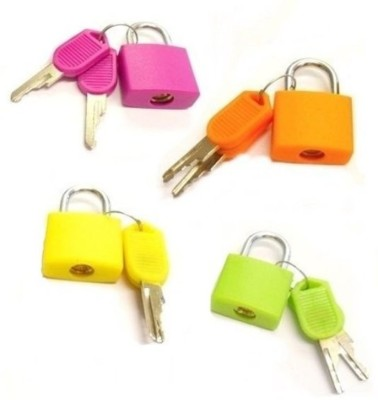 Skywalk Set Of 4 Small Padlocks For Securing Luggage While Travelling - Includes 2 Keys For Each Lock Safety Lock(Multicolor)