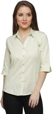 Franclo Women Polka Print Formal Green Shirt