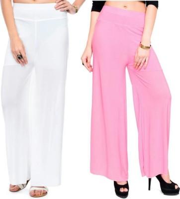 Marami Regular Fit Women White, Pink Trousers at flipkart