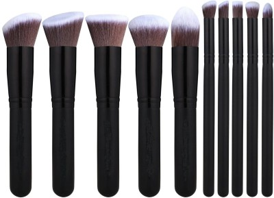 Looks United Premium Cosmetic Makeup Brush Set With Leather Carry Case Pack of 10 Looks United Makeup Brush