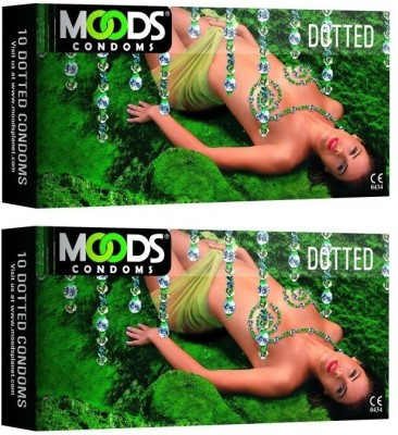 Moods Dotted Pack of 2 (Concealed/Confidential Packaging) Condom(Set of 2, 20S)  available at flipkart for Rs.160
