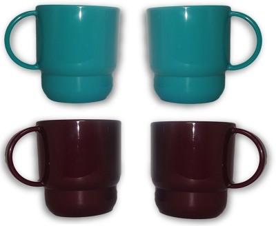 Tupperware Mugs Blue Grape Color Plastic Mug(300 ml, Pack of 4) at flipkart