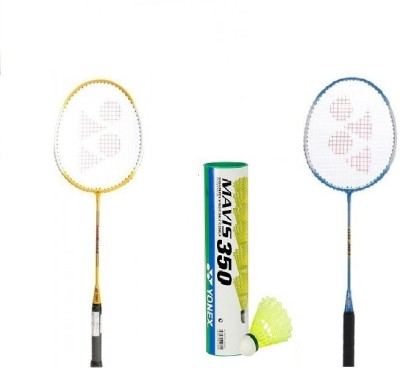 Yonex Combo of 2 Yonex GR 303 Badminton Racquets + Mavis 350 Shuttle cock (pack of 6) G3 Strung(Silver, Red, Black, Yellow, Blue, Weight - 90 g)  available at flipkart for Rs.1799