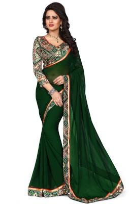 Oomph! Solid Bollywood Chiffon Saree(Green)
