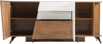 Durian CRISPUS Engineered Wood Crockery Cabinet(Finish Color - Walnut/White Lacquer)