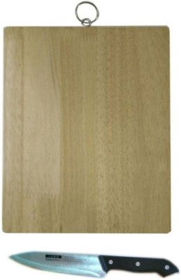 xudo Vegetable and fruit Chopping board with knife wooden cutting board Beige, Black Kitchen Tool Set(Beige, Black) at flipkart