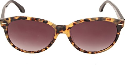 Calvin Klein Oval Sunglasses(Brown) at flipkart