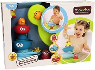 Yookidoo Bath Toy - Stack N' Spray Bathtub Fountain - 7 Unique Pieces With Different Functions Bath Toy(Multicolor)