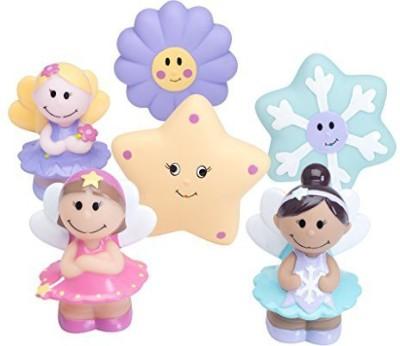 Elegant Baby 6 Piece Bath Time Fun Rubber Water Squirties Vinyl Zip Storage Bag, Fairy Party Bath Toy(Multicolor)
