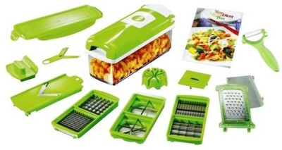 CheckSums 11024 Green Nicer Dicer Plus For Multi Cutting Vegetables & Fruit Chopper (10 Attachments) Chopper(Green)  available at flipkart for Rs.498